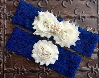 Wedding Garters, Bridal Garter - Blue Garter Belt, Navy Blue Garter, Wedding Garter Set, Something Blue Garter, Toss Garter, Blue Garter