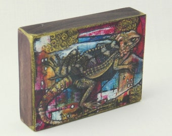 Lizard, Miniature ACEO wood block, Lizard aceo portrait, Rustic wood Lizard art, Hand Finished print, original miniature Lizard  ACEO