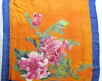 Silk scarf Peony. Light hand painted silk scarf.  Handpainted scarf in pink, green,yellow and  blue. Peony painting batik silk scarves.