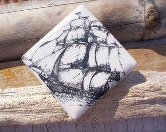 Majestic Ship, Ceramic Lidded Box