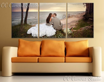 Split photo Custom Canvas Print Art. Set of 3 same size Gallery Wrapped Canvas Print - Wedding Gift. Anniversary Gift. Wall decor.