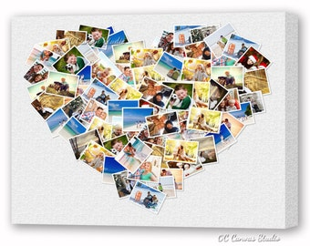 Heart Custom Photo Collage Canvas Print. Gallery Wrapped Canvas. Unique wall decor.