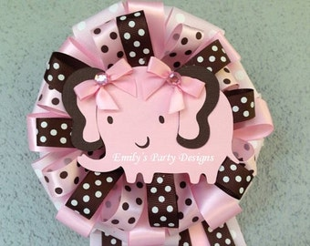 Pink Baby Elephant Mommy-To-Be Corsage, Mommy To Be Corsage, Elephant Corsage, Baby Shower Corsage.