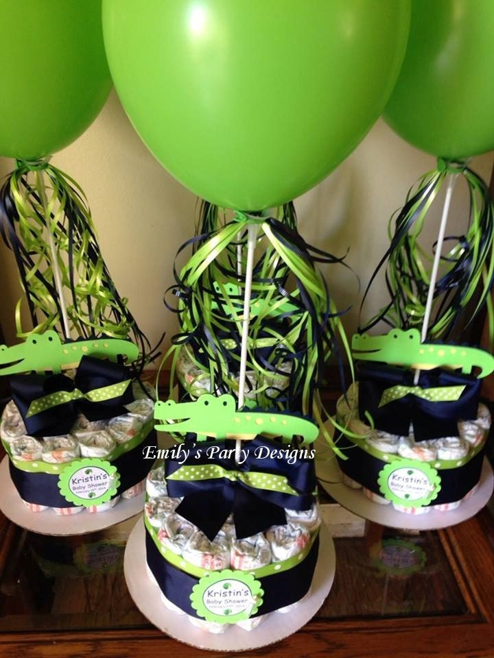alligator baby shower diapers centerpiece with balloon navy