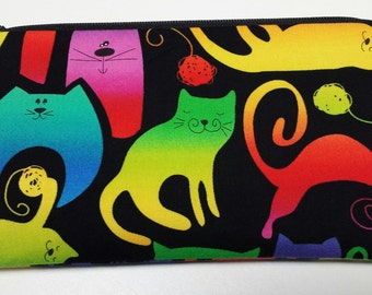 Zipper Pouch, Cosmetic Bag, Pencil Case, Cats, Medication Bag, Gadget Bag, Nylon Lining, Zipper Closure