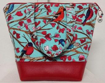 Insulated Bird Lunch Bag, Vinyl Bottom,Bird Lunch Box, Work Lunch Bag Birds, Nylon Liner with Inner Zipper Pocket. Reusable,Washable,