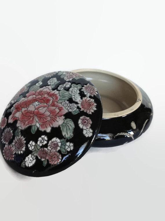 Vintage ceramic floral trinket dish Made in China famille noire bowl