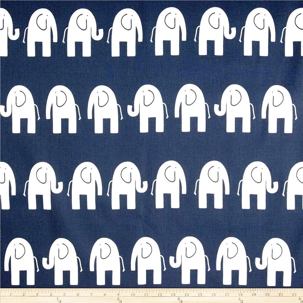 Blue Elephant Premier Prints Home Decor Upholstery Ele Navy Blue On White 1 Yard Or More