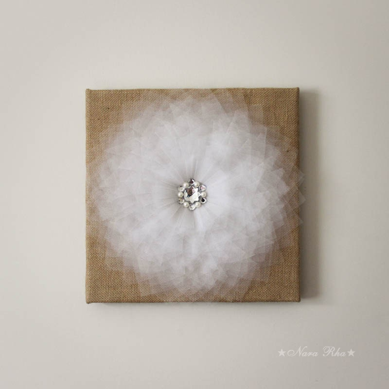 Rustic Burlap Wall Decor : Burlap wall decor rustic home white flower