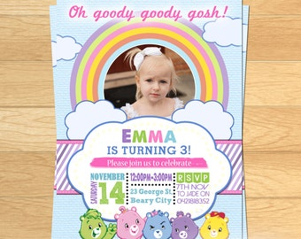 Girls Care Bears Invitation - You Print!