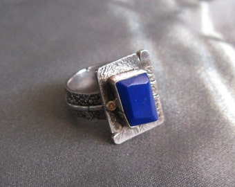 Vintage Modernist Ring with Faceted Blue Stone; Sterling with a 14K Dot; Unusual, Wearable Art