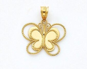 14K Mirrored Butterfly Pendant, Butterfly Pendant, Butterfly Jewelry, Gold Butterfly, Gold Pendant, Butterfly, Gold Jewelry