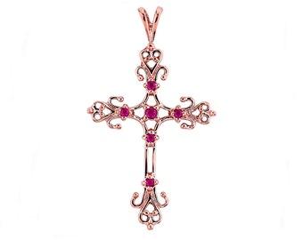 14K Rose Gold Ruby Cross Pendant, Cross Pendant, Ruby Pendant, Cross Jewelry, Ruby Jewelry, Gold Cross, Religious Jewelry, Ruby, Cross