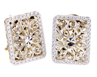 14K Two-Tone Diamond-Cut Rectangle Earrings, Rectangle Earrings, Diamond-Cut Earrings, 14K Gold Earrings, Gold Earrings, Fancy Earrings