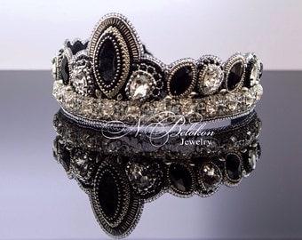 Black Crystal Tiara Etsy