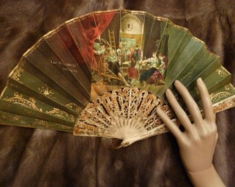 Espana Fan Bone Hand Painted Madrid Velasquez 1940 Carved Spanish Fly O Mirales Artist Bridal