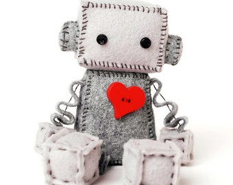 Plush Robot with a Big Red Heart - Geeky Gift - Nerdy Stuffed Plushie - Felt Robot