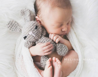 Newborn crocheted buddy bunny rabbit in 100% wool