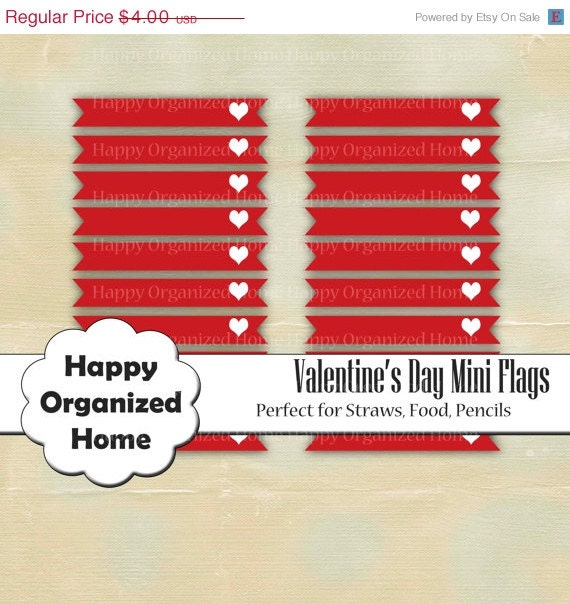 60% OFF 2 DAY SALE Valentine's Day, printable mini flags for drinks, straws, food, in red Heart pattern with Valentine's Day Theme - Printab