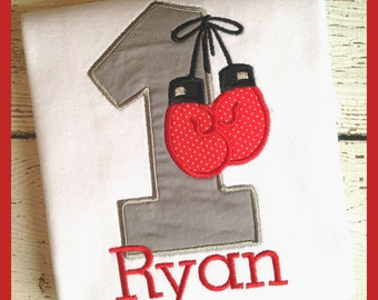 Personalized Boxing Birthday Applique Shirt - Boys Birthday - Boxing Gloves - Boxer - Applique shirt