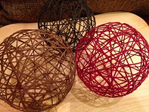 Yarn Balls String Balls Red Maroon Brown Tan Christmas