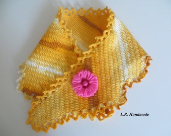 Crochet Scarf and Flower Brooch, Soft Crochet scarf, Fashion scarf, Ladies scarves, Yellow scarf, Mother's Day gift,  Handmade Accessories