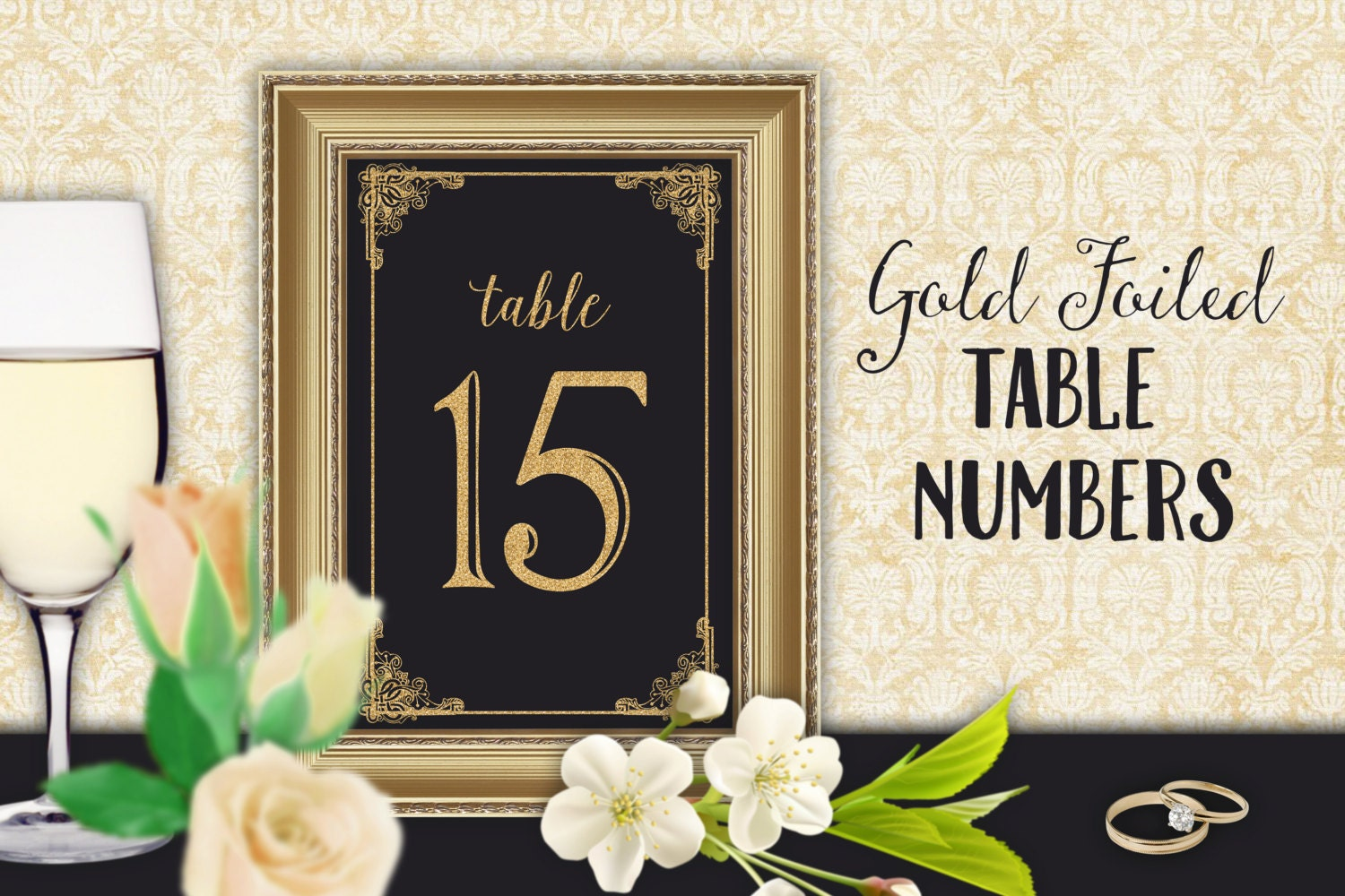 Table number cards wedding reception table number set gold for Table numbers