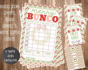 Printable Christmas Bunco Score Sheet- Bunco Water Bottle Labels- Printable Bunco Set-Printable Christmas Bunco Set