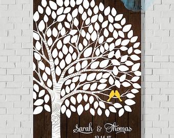 Rustic Wedding Guest Book Alternative Keepsake Wedding Tree Guest Book Tree Print Faux Wood Wedding Sign Wedding Gift Wedding Poster -MW5