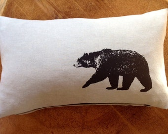 Black Bear Screen Printed Pillow onto 100% Natural Linen with Gold YKK Zipper or White Linen with Black Zipper, Cover