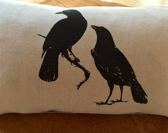 Two Black Crows Screen Printed Pillow onto 100%Natural Linen,Wedding Gift, Home Decor