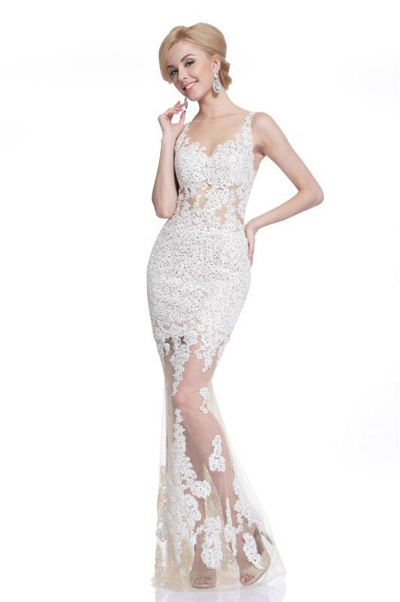 items similar to white lace formal gown sheer bottom long