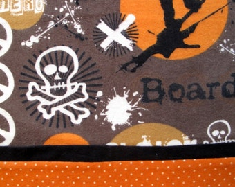 Pillowcase for Boys Featuring Skateboarders, Buttery Soft Flannel Pillow Cases Standard Size,  Great Gift Idea, Brown and Orange, Sleepovers