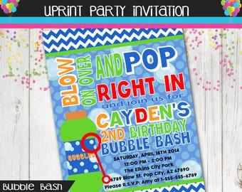 Bubble Invitation - Bubble Party - Blow Bubbles Bubble Bash  - Invite - Printable