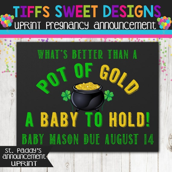 St. Patricks Day Pregnancy Announcement Chalkboard
