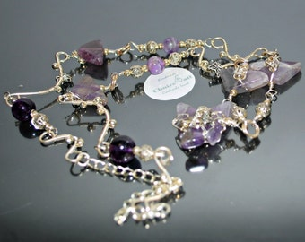 OOAK Necklace and Bracelet Wire Wrapped Silver Plated Set