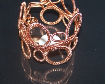 Wire Wrapped Bangle, Copper  Wrapped Bangle,