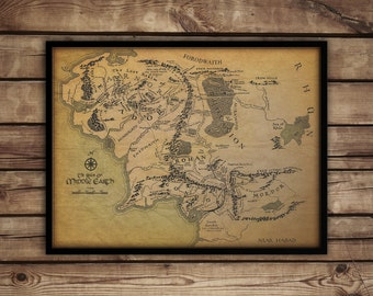 "Map of Middle earth, Middle earth map, Lord of the rings poster,fan art up to 30""x 40"""