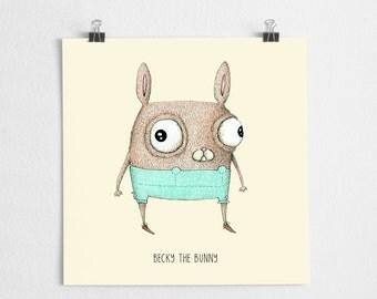 Cute bunny illustration, nursery art print, forest critter illustration, pastel // Becky the Bunny