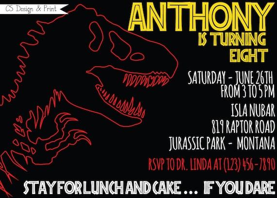 Skeletal Dinosaur Birthday Party Invitation Printable