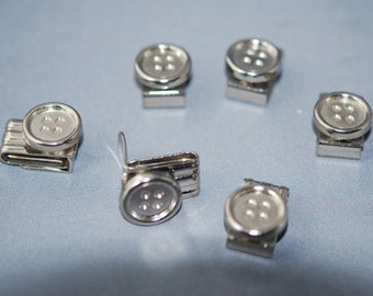 Set of 6 Silver buttons Clips  Braces / Suspenders  Button, Made in Germany.