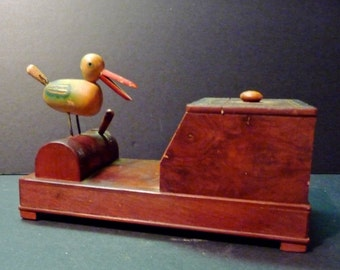 vintage japanese wood bird cigarett e dispenser. Black Bedroom Furniture Sets. Home Design Ideas