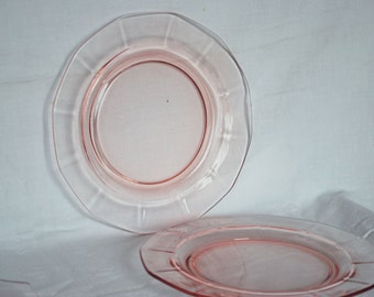 "Free shipping Pink depression 8.75"" lunch plate-Fostoria Fairfax"