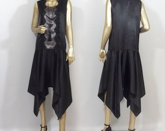 1920s, Art deco, flapper dress, black, vintage style, hankie hem, evening gown, plus size. Free shipping in USA.
