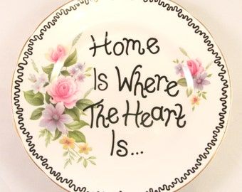 Home is Where the Heart is Hand Decorated Vintage Floral Side Plate Pink Rose China Feature Wall Display House Warming Present Gift Pretty