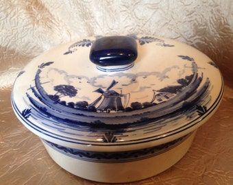 Signed Blue Delft Covered Bowl Windmill and Ships