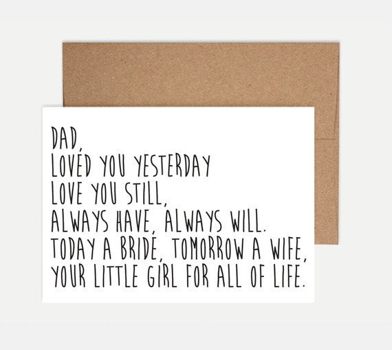 Gift For Bride Night Before Wedding : Father of the Bride CardWedding Card