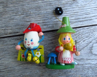 Vintage Nursery Rhyme Ornaments - Little Miss Muffet and Humpty Dumpty Ornaments