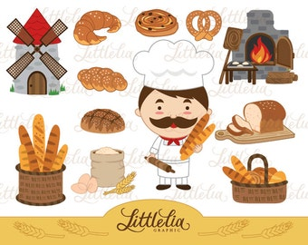 Bakery - Bread - Baker clipart 14030 instant download