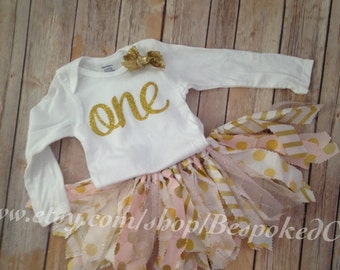 Gold One First Birthday Outfit/Gold and Pink Birthday Outfit | Scrap Fabric Tutu | Fabric Tutu Outfit | Vintage Birthday Outfit Baby Girl